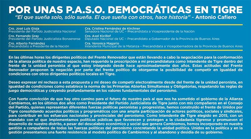 Zamora reclama por las PASO en Tigre