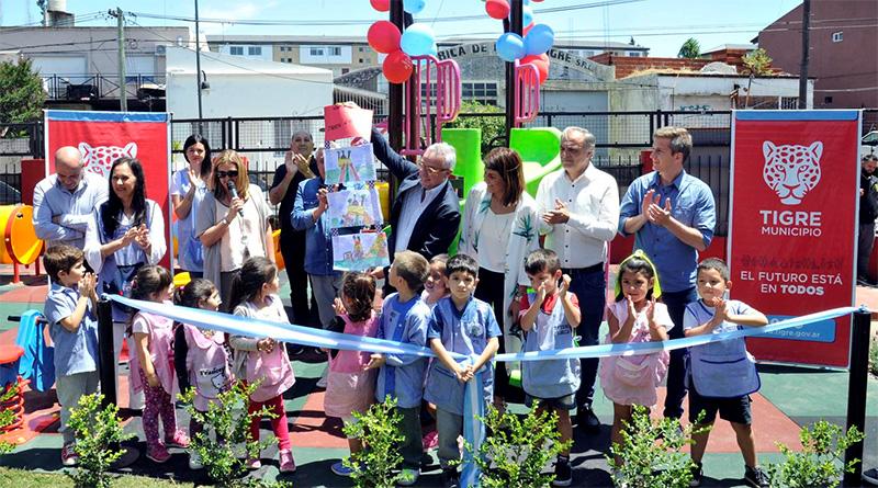 Julio Zamora inauguró los nuevos juegos del Jardín N°901 de Rincón de Milberg