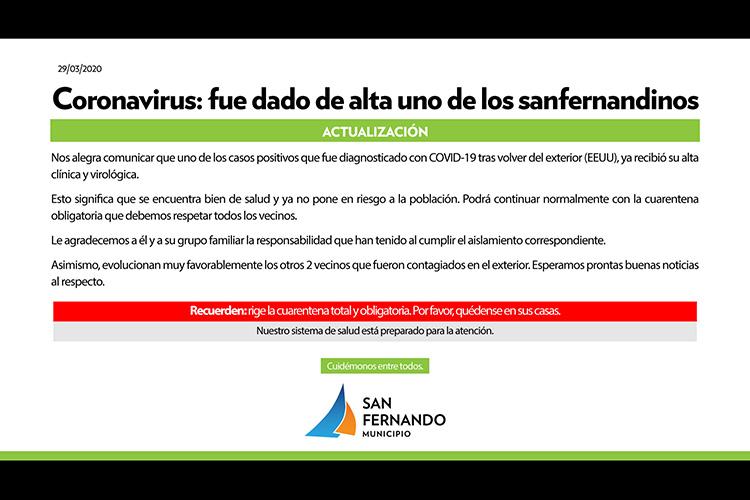 Coronavirus: ya fue dado de alta uno de los casos positivos de San Fernando