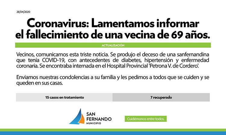 Coronavirus: falleció una sanfernandina de 69 años en el Hospital Provincial 'Cordero'