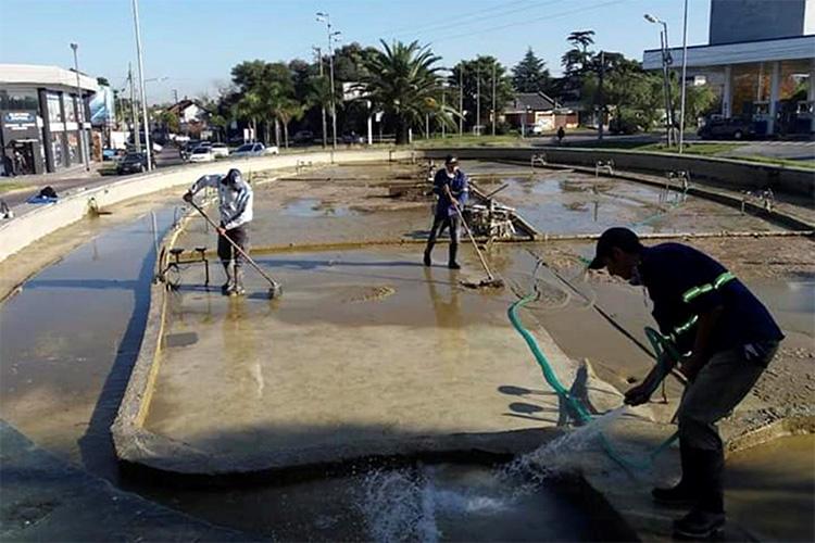 Tareas de limpieza en espacios públicos de Tigre