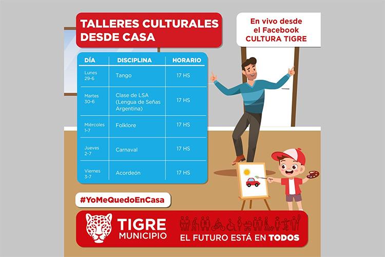 Continúan los talleres culturales online en las redes sociales de Tigre