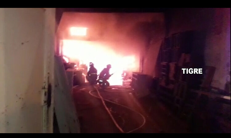 El Sistema de Protección Ciudadana de Tigre controló un feroz incendio en un aserradero