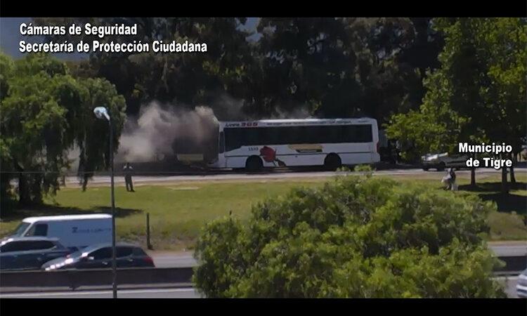 Un colectivo en llamas fue controlado rápidamente gracias al Sistema de Protección Ciudadana de Tigre