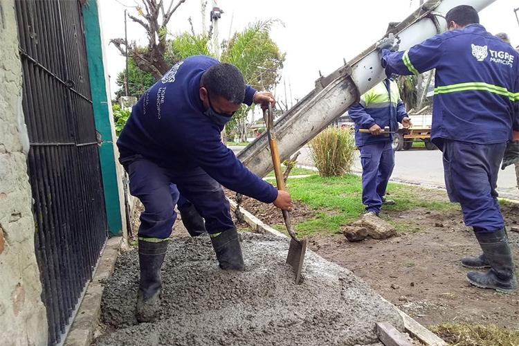 El Municipio de Tigre construye nuevas veredas vecinales en Don Torcuato y El Talar